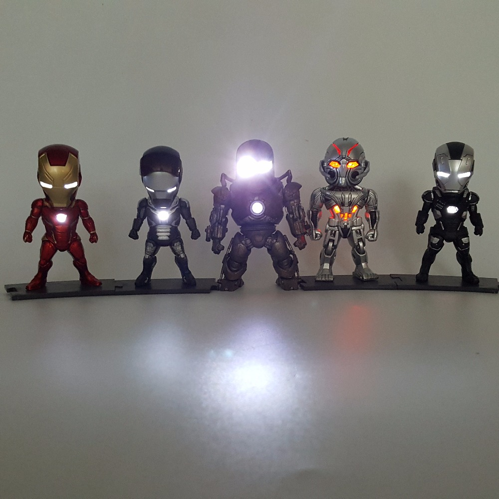 ФОТО Iron Man Action Figure MK43 Ironman PVC 90mm Collectible Model Toy Anime Iron Man Mark Superhero Led Lighting