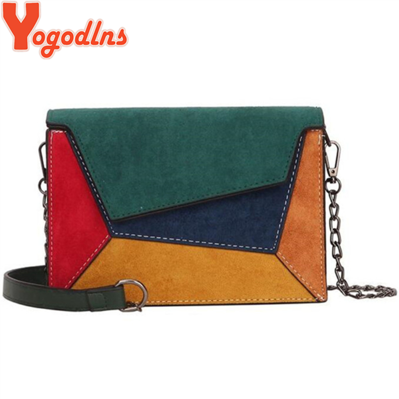 Yogodlns Retro Matte Patchwork Crossbody Bags For Women Messengers Bags Chain Strap Shoulder Bag Small Flap Criss-cross Bag