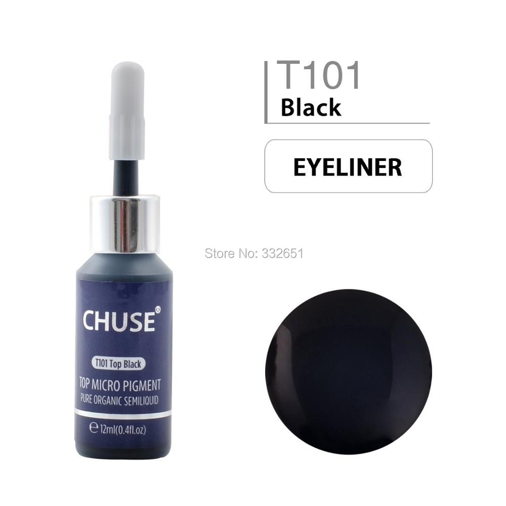 CHUSE T101 Top Black Microblading Micro Pigment Permanent Makeup Tattoo Ink Cosmetic Color Passed SGS DermaTest 12ml (0.)