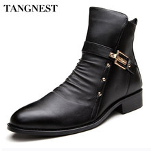Tangnest 2016 New Men's Winter Boots Men Genuine Leather Boot Male British Style Retro Martin Boots Man Autumn Warm Shoes XMX450