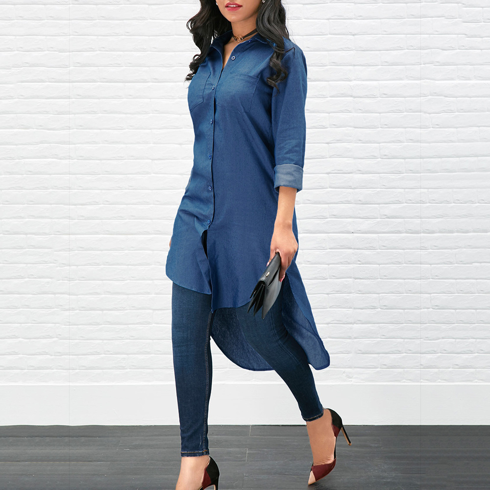 Women Denim Long Blouse Sleeve Casual Loose Shirt Blue Female Shirts Tops Thin Plus Size Solid Single Spring Summer Autumn 5939(China)