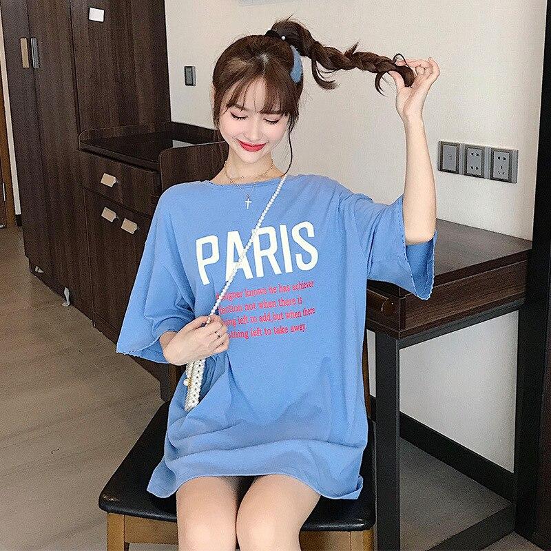 f746f57fef3c9 2019 летние женские футболки с буквенным принтом, свободные стильные  длинные футболки для женщин, хлопковые