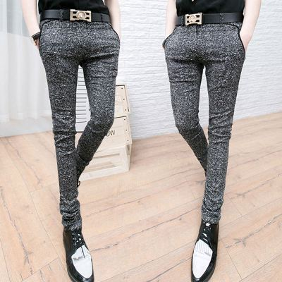 The new 2018 men's trousers summer Slim Korean casual pants hair stylist stretch pants feet thin pencil pants