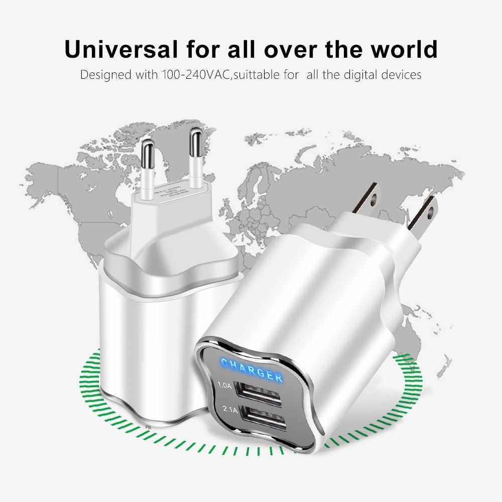 جيدة 5 V/2.1A LED 2 منافذ شاحن يو اس بي الاتحاد الأوروبي/الولايات المتحدة التوصيل شحن السفر الحائط الهاتف المحمول شاحن كابل يو اس بي ل iphone 5 6 7 8 زائد ipad