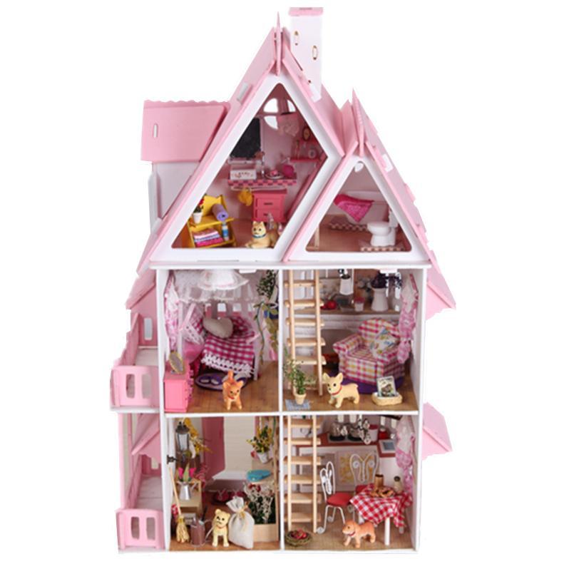 Meubles BRICOLAGE Poupée Maison Wodden Miniatura Poupée Maisons Meubles Kit Puzzle Main Dollhouse Jouets Pour Enfants fille cadeau X001