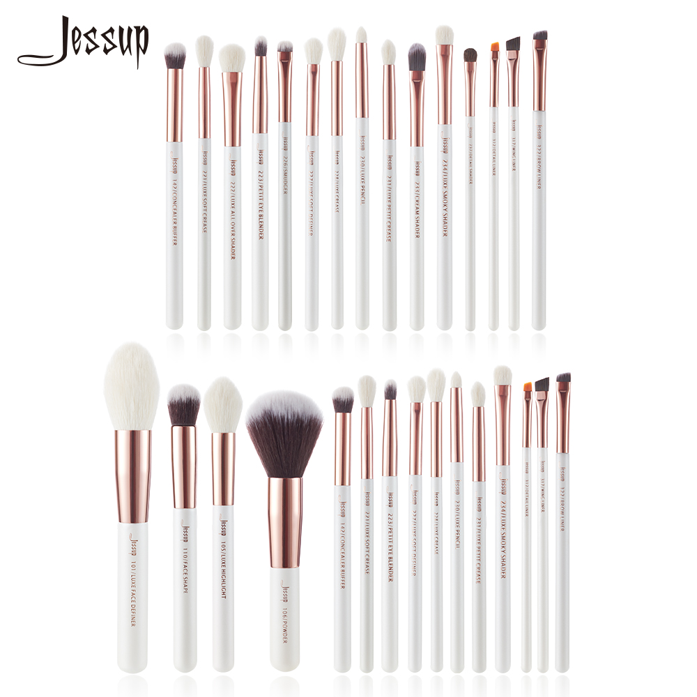 Jessup Perle Blanc/Rose Or Professionnel Maquillage Pinceaux Beauté kits Make up brush Eye Liner Shader Fondation Poudre