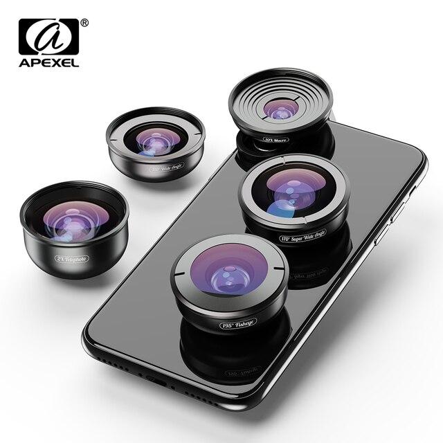 APEXEL HD 5 in 1 Camera Phone Lenses 4K Wide macro Telescope super Fisheye Lens for iPhonex xs max Samsung s9 all smartphone Phones & Accessories