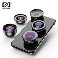 APEXEL HD 5 in 1 Camera Phone Lenses 4K Wide macro Telescope super Fisheye Lens for iPhonex xs max Samsung s9 all smartphone