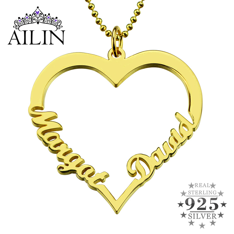 AILIN Gold Color Customized Heart Name Necklace Couples Heart Pendant with 2 Names Love Necklace Valentine's Day Gift for Her key to my heart couples name necklace gold color engraved birthstone heart and key initials necklace bff necklace love jewelry
