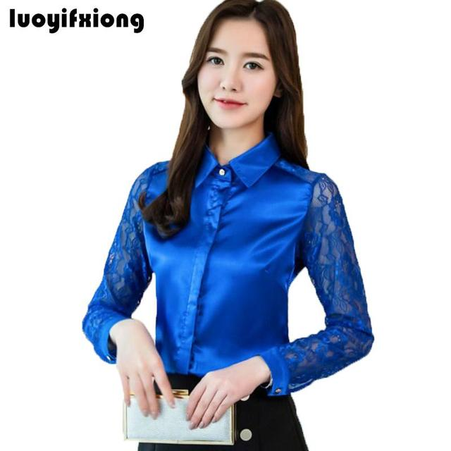 87da12382f73e Women Silk Satin Blouse Button Lace Long Sleeve Lapel Ladies Office Work  Elegant Female Satin Silk Blouses Shirt Plus Size S-3XL
