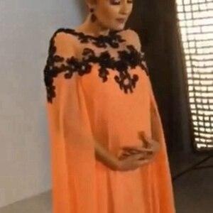 Image 5 - 새로운 도착 쉬폰 이슬람 이브닝 드레스 2020 블랙 레이스 Appliques 이브닝 가운 임신 공식 드레스 여성 우아한