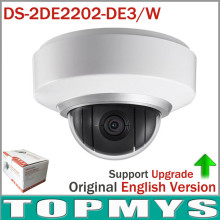 8pcs/lot by DHL English Version PTZ IP camera DS-2DE2202-DE3/W 2MP POE 2X Zoom Built In Mic and Audio wireless wifi Dome camera