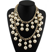 MANILAI Fashion Double Chains Tassel Cross imitation Pearls Beads Long Pendant Statement Necklaces Designer Jewelry CE1227(China)
