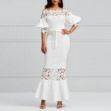 купить Kinikiss dress long summer 2018 white off shoulder pencil dress hollow lace up elegant lantern sleeve sexy party vintage dress по цене 1540.35 рублей