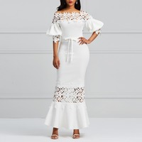 Kinikiss dress long summer 2018 white off shoulder pencil dress hollow lace up elegant lantern sleeve sexy party vintage dress