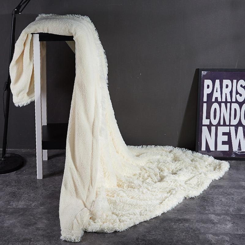 Роскошное Европейское одеяло из искусственного меха с длинными волосами, зимнее пушистое теплое двустороннее одеяло, однотонное окрашенное в пряже бархатное Норковое одеяло