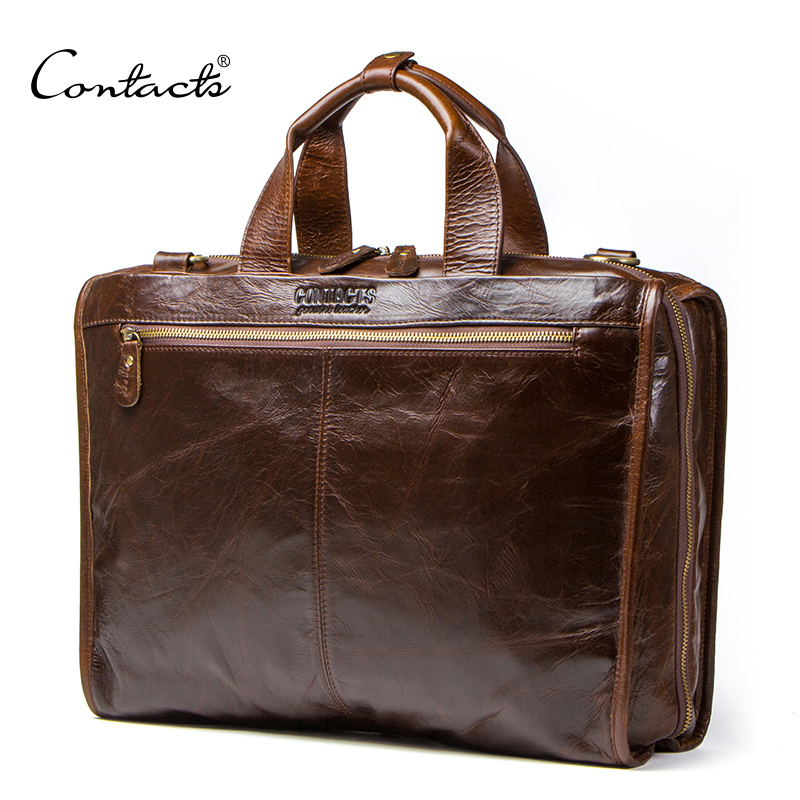 CONTACT S cowhide leather men s briefcase vintage man bag large capacity for 13 3 inch