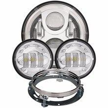 Светодиодные фары комплект 7 дюймов halo проектор + 4,5 дюймов Туман лампа + 7 дюймов переходное кольцо для Harley Davidson 94-13 touring Road King