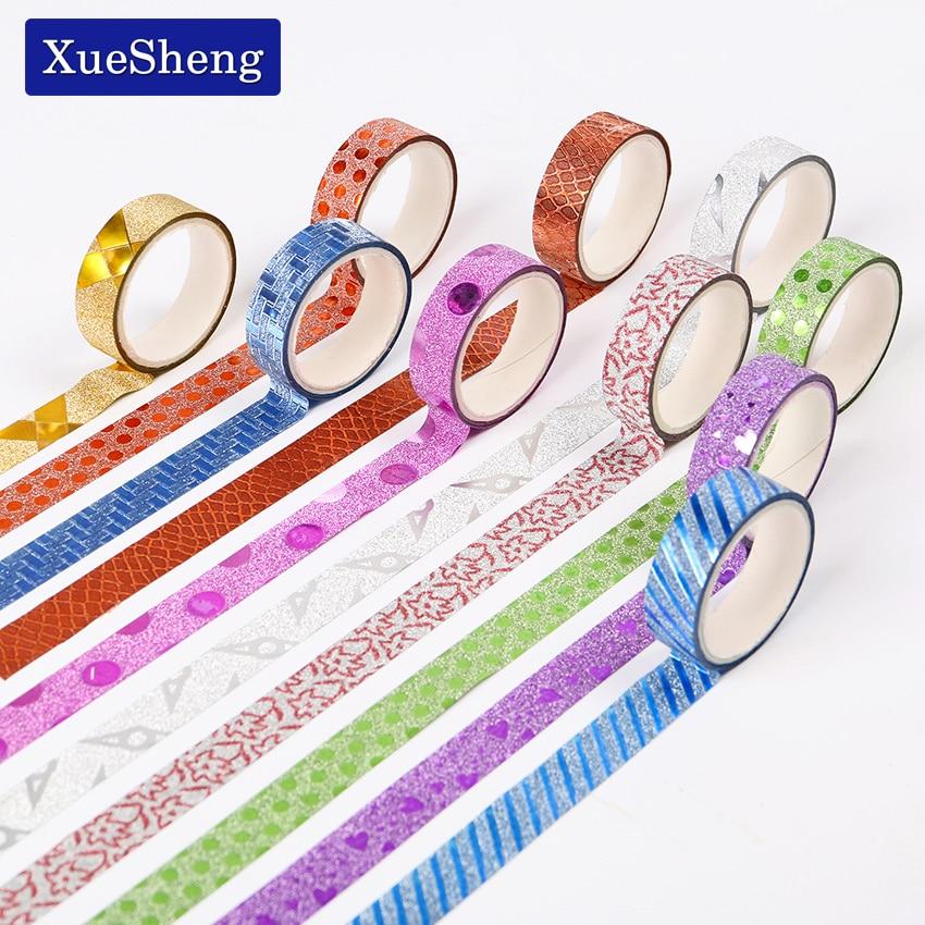 10PCS New Style Glitter Bright Color Decorative Washi Tape Adhesive Masking Tape Stationery Sticker Stick Label DIY Craft