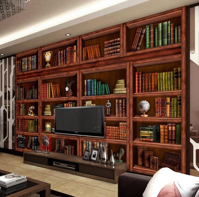 Klassische Bücherregale klassische wallpaper für wände benutzerdefinierte 3d tapete