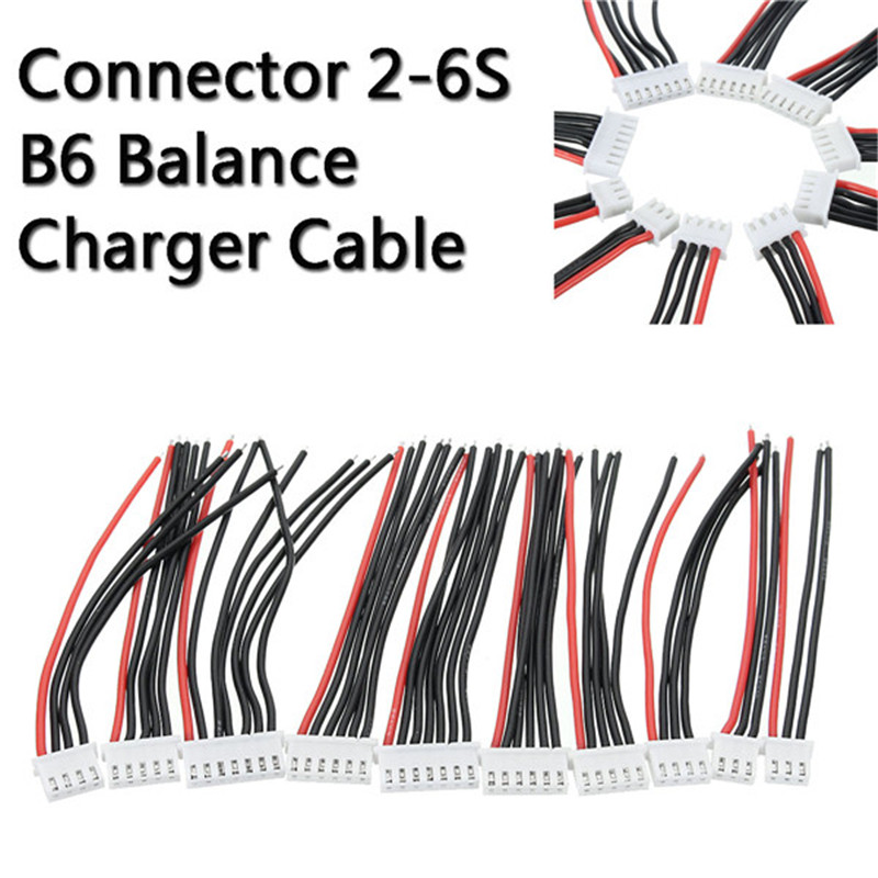 10pcs JST-XH Connector 2-6S Imax B6 Balance Charger Cable Wire Adapter Plug 10cm DIY assemble lithium battery 10