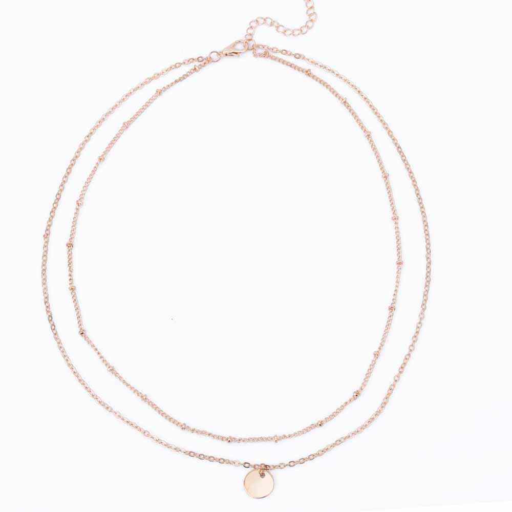 FAMSHIN Summer Stylish simplicity Copper beads chain metal Sequins Multilayer necklace Women Necklace