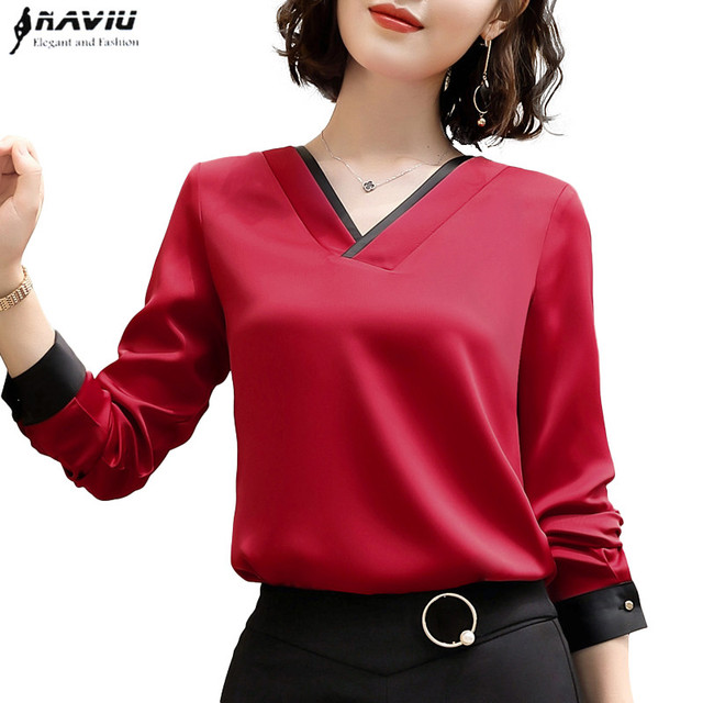 c7655d70405 2018 New Temperament V Neck shirt women High quality chiffon fashion long  sleeve blouse office formal Loose plus size tops Red