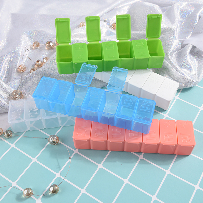 Weekly Tablet Braille Recognition Wholesale 1PCS 7 Days Plastic Pill Box Pill Tablet Organizer Case Medicine Cases Storages