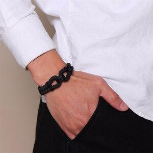 Image 3 - Vnox pulsera de cuero negro con broche de acero inoxidable para hombre, brazalete de piel auténtica, estilo chino, informal