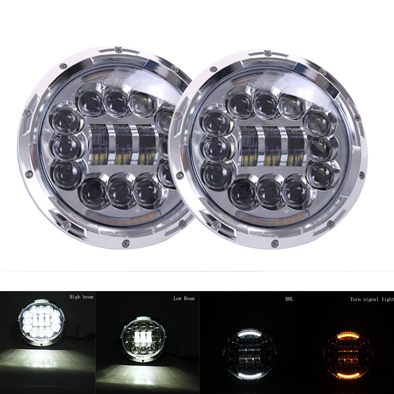 Chrome 7 inch Round Motorcycle LED Headlight Assembly with Angel eyes for Jeep Wrangler JK TJ Harley Davidson Daymaker Headlamp