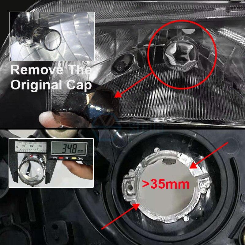 2 pièces H4 led salut-lo mini projecteur lentille phare pour la voiture faisceau clair motif 12 V 5500 k pas astigmate problème garantie à vie - 6