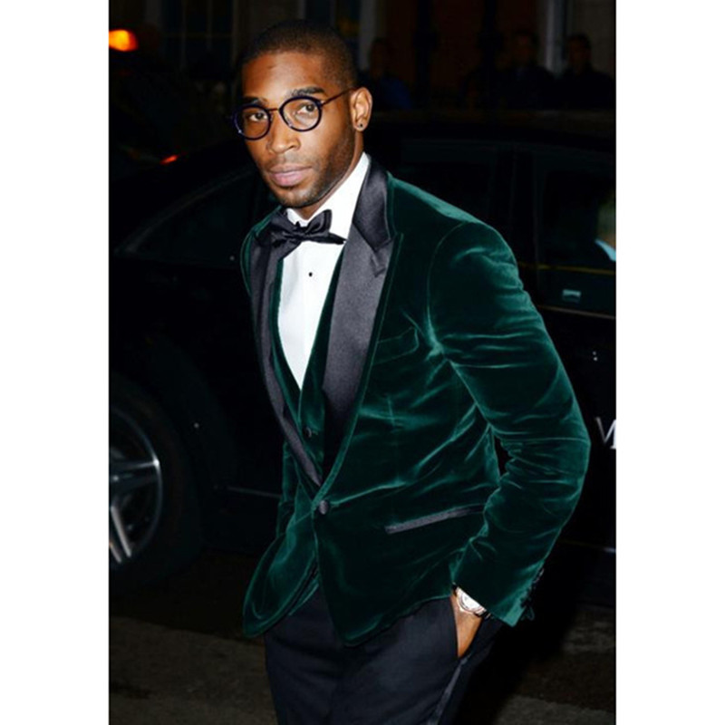Mode mariée velours vert pointe Revers hommes costume Robe sur mesure hommes smoking marié groomsman veste de smoking de mariage costumes pour hommes