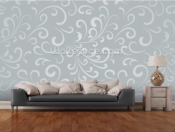 Custom floral wallpaperFloral Pattern Grey3D retro for