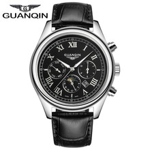 GUANQIN Luxury Brand Men Watches Casual Mens Business 24 Hours Date Luminous Quartz Watch Leather Waterproof Relogio Masculino
