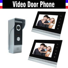 7 inch video intercom system aluminum alloy panel video door phone doorbell doorphones kit 2 LCD Monitor 1 IR Camera for home