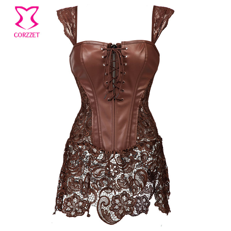 Skirted Lace & Brown Leather Steampunk Corset Dress Punk ...
