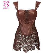 Skirted Lace & Brown Leather Steampunk Corset Dress Punk Gothic Clothing Waist Slimming Corsets and Bustiers Plus Size Lingerie