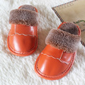 Real Leather Kids Slippers Children Home Shoes For Boys Girls Indoor Bedroom Baby Fur Warm Winter Cotton Slipper Soft Bottom