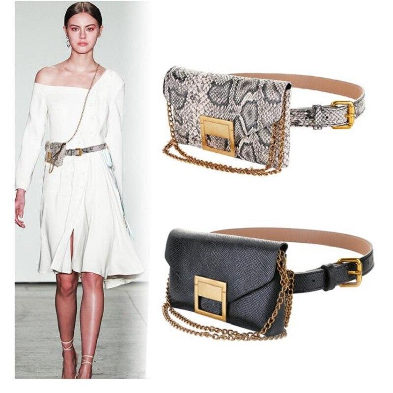 Fashion Mini Waist Bag Women Snakeskin Grain Small Bag Metal Buckle Fanny Pack Chain Dual-use Waist Pack For Women Purse Bag