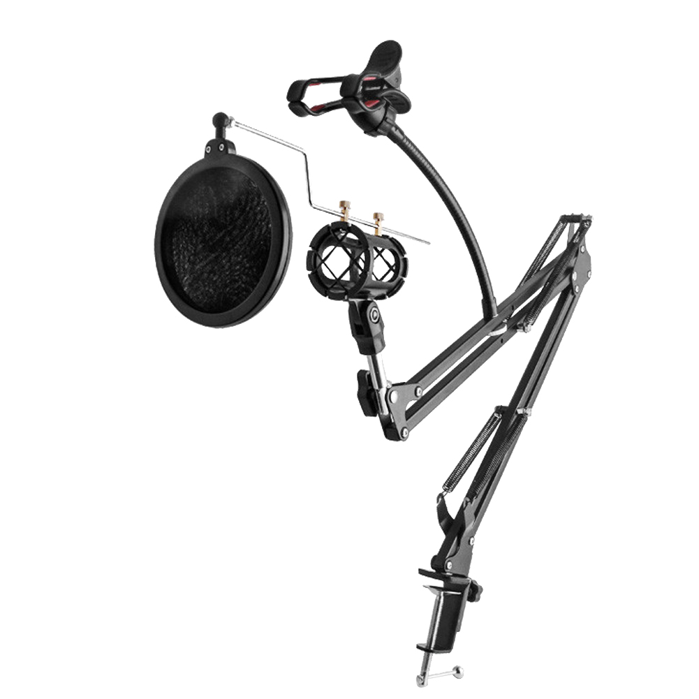 Professional Microphone Arm Stand Stabilizer Mobilephone Holder with Table Mounting Clamp for Broadcasting Studio Recording
