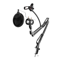 Metal Suspension Boom Arm Microphone Stand 360 Degree Rotation Double Braced Arms Mic Mount For Broadcast
