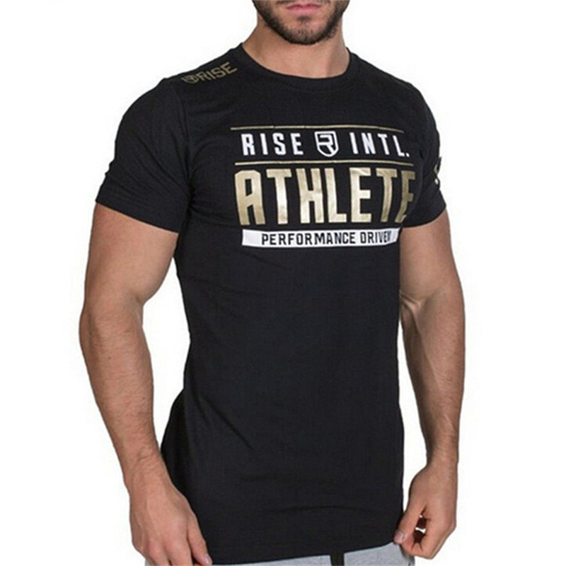 Mens Short sleeve Cotton T-shirt Summer Casual Fashion Slim Print t shirt Crossfit Gyms Fitness Workout Tee Tops Brand clothing