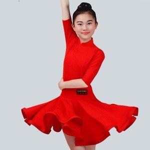 Image 5 - Năm 2020 cô gái Nhảy Latin Đầm 5 màu Đỏ/Xanh Lá/Xanh Dương Con/Kid Thể Dục Trẻ Em Samba Chacha Rumba cô gái Thể Hiện Nhảy Múa Váy 2034