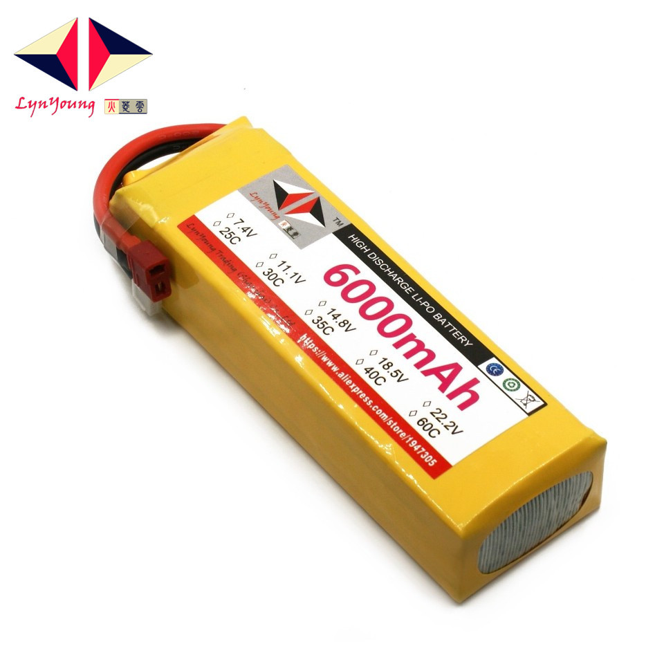LYNYOUNG 4S LiPo battery 14.8V 6000mAh 35C max 70c for RC Airplane Helicopter car drone quadcopterLYNYOUNG 4S LiPo battery 14.8V 6000mAh 35C max 70c for RC Airplane Helicopter car drone quadcopter