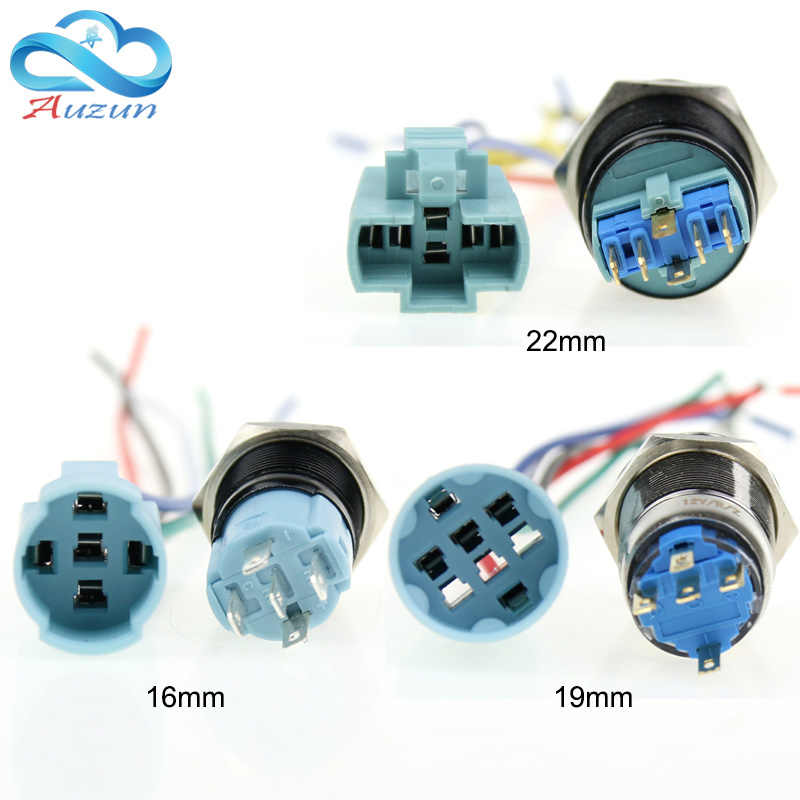 16/19/22 Mm Logam Tombol Switch Soket Base Tombol Switch Khusus Garis Dasar Panjang 150 Mm