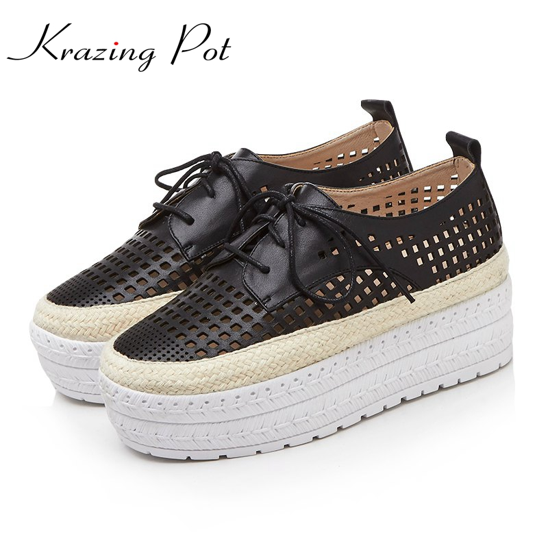 Krazing Pot genuine leather solid hollow increased platform loafers superstar breathable round toe lace up vulcanized shoes L99-in Women's Vulcanize Shoes from Shoes    1