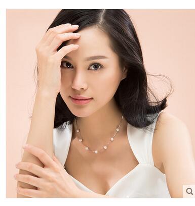 Femmes cadeau mot amour blanc bricolage cadeau amour souhait perle Choker clavicule chaîne pendentif collier argent-bijoux