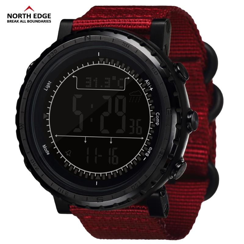 NorthEdge Для мужчин спортивный цифровые часы Для мужчин подарочные Военная наручные часы высота барометр, термометр, компас шагомер кемпинг