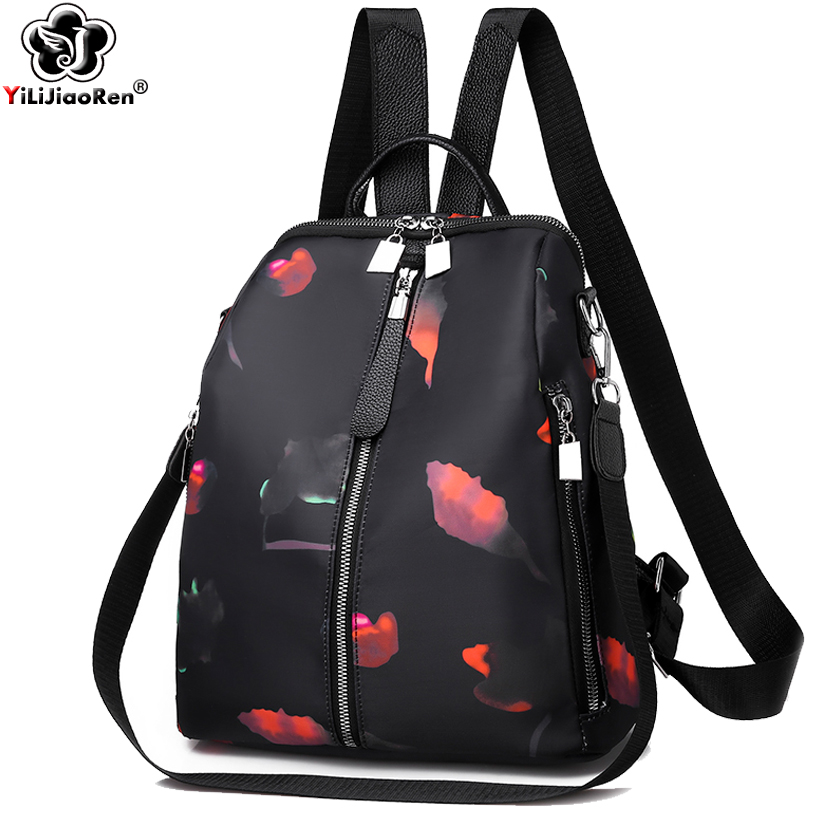 Fashion Flowers Backpack Female Brand Oxford Backpack Women Large Capacity Bookbag Travel Bag Designer Shoulder Bags For Women