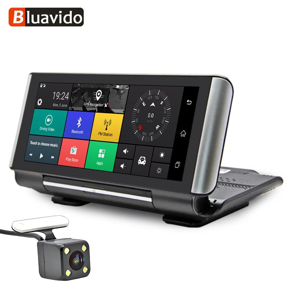 Bluavido 7 дюймов 4 г Android автомобильный камера памяти GPS навигация ADAS FHD 1080 P Автомобильный видеорегистратор DVR wifi BT удаленный монитор g-сенсор